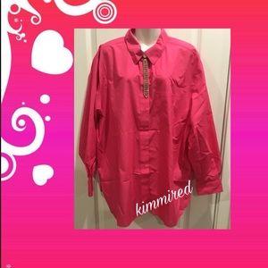 Foxcroft Hot Pink/Fuschia Button Down Shirt ~ 24W